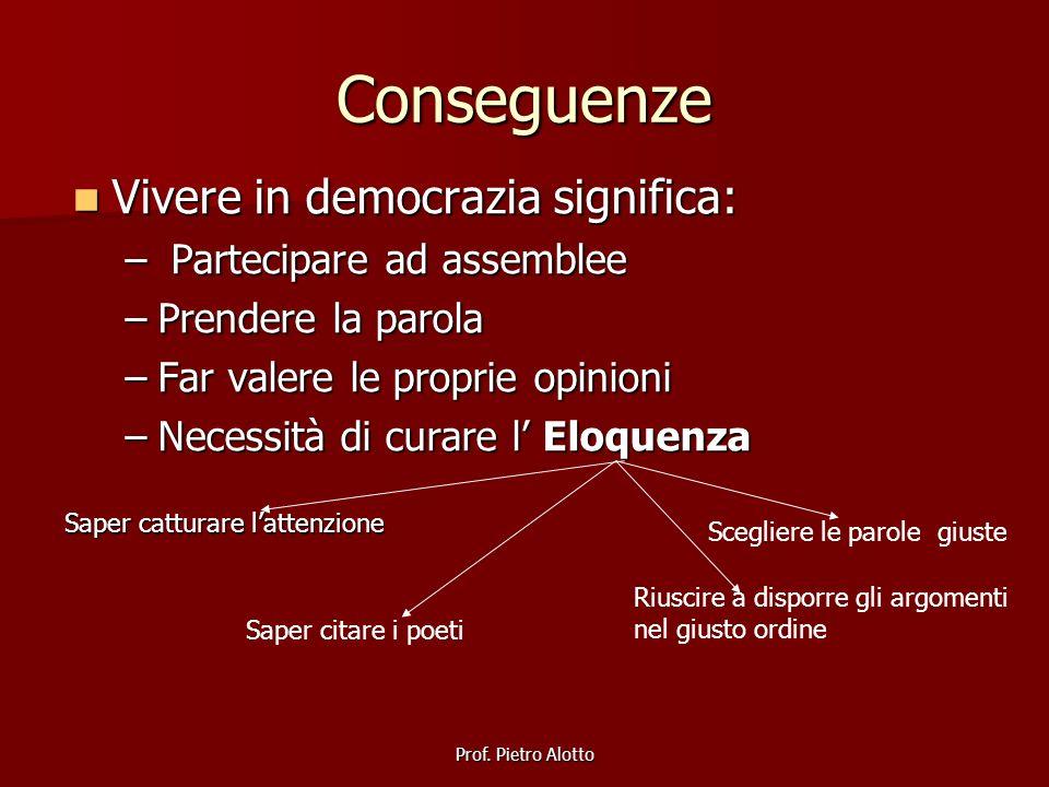 Conseguenze Vivere in democrazia significa: Partecipare ad assemblee