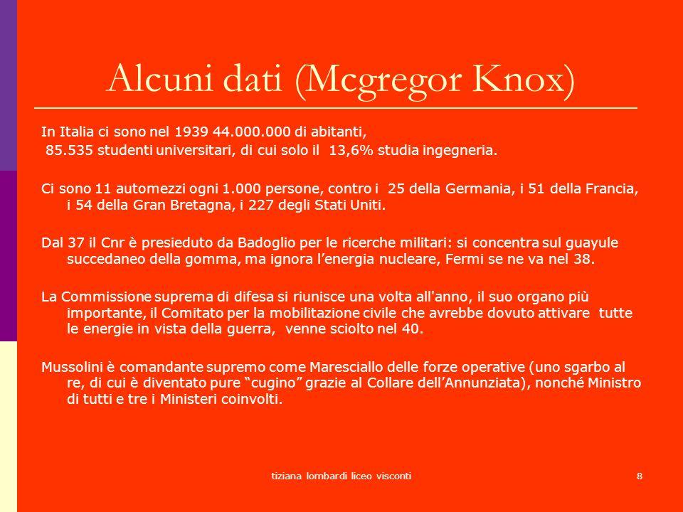 Alcuni dati (Mcgregor Knox)
