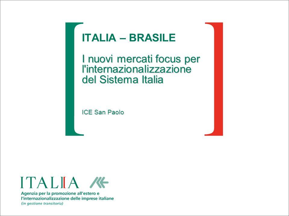 ITALIA – BRASILE I nuovi mercati focus per l internazionalizzazione del Sistema Italia ICE San Paolo