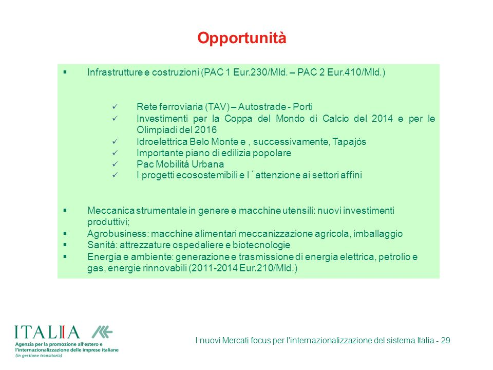 Opportunità Infrastrutture e costruzioni (PAC 1 Eur.230/Mld. – PAC 2 Eur.410/Mld.) Rete ferroviaria (TAV) – Autostrade - Porti.