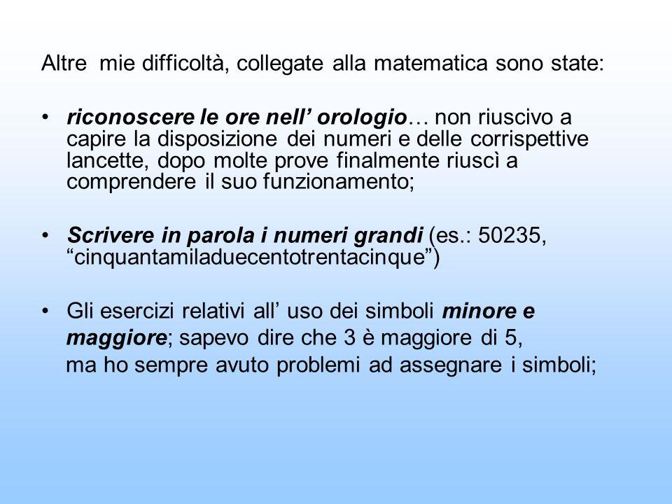 Altre mie difficoltà, collegate alla matematica sono state: