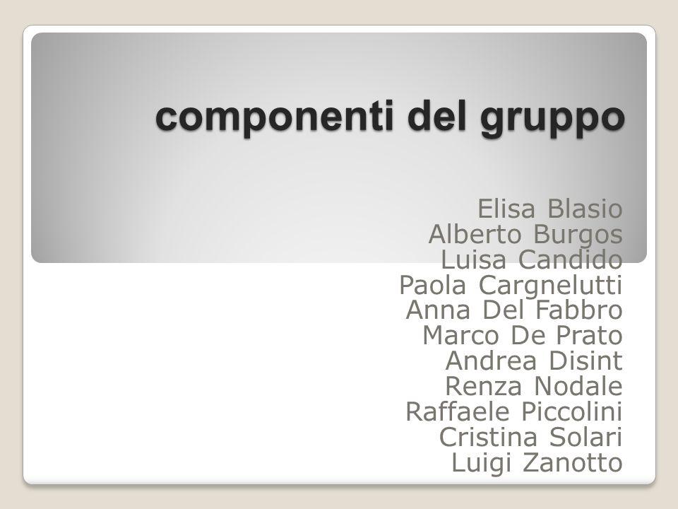 componenti del gruppo Elisa Blasio Alberto Burgos Luisa Candido