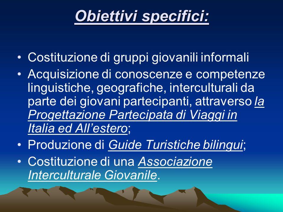 Obiettivi specifici: Costituzione di gruppi giovanili informali