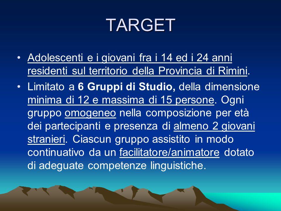 TARGET Adolescenti e i giovani fra i 14 ed i 24 anni residenti sul territorio della Provincia di Rimini.