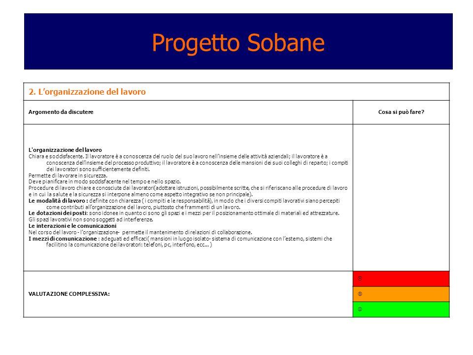 Progetto Sobane 2. L'organizzazione del lavoro Argomento da discutere