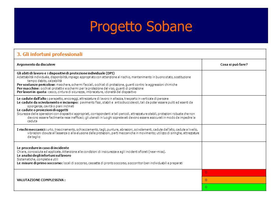 Progetto Sobane 3. Gli infortuni professionali Argomento da discutere