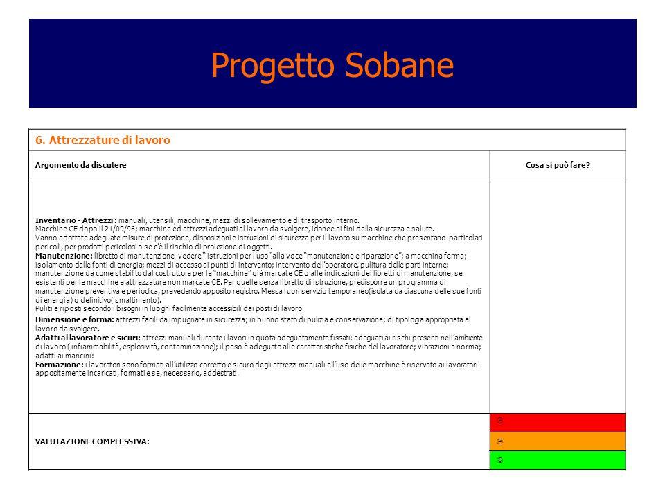 Progetto Sobane 6. Attrezzature di lavoro Argomento da discutere