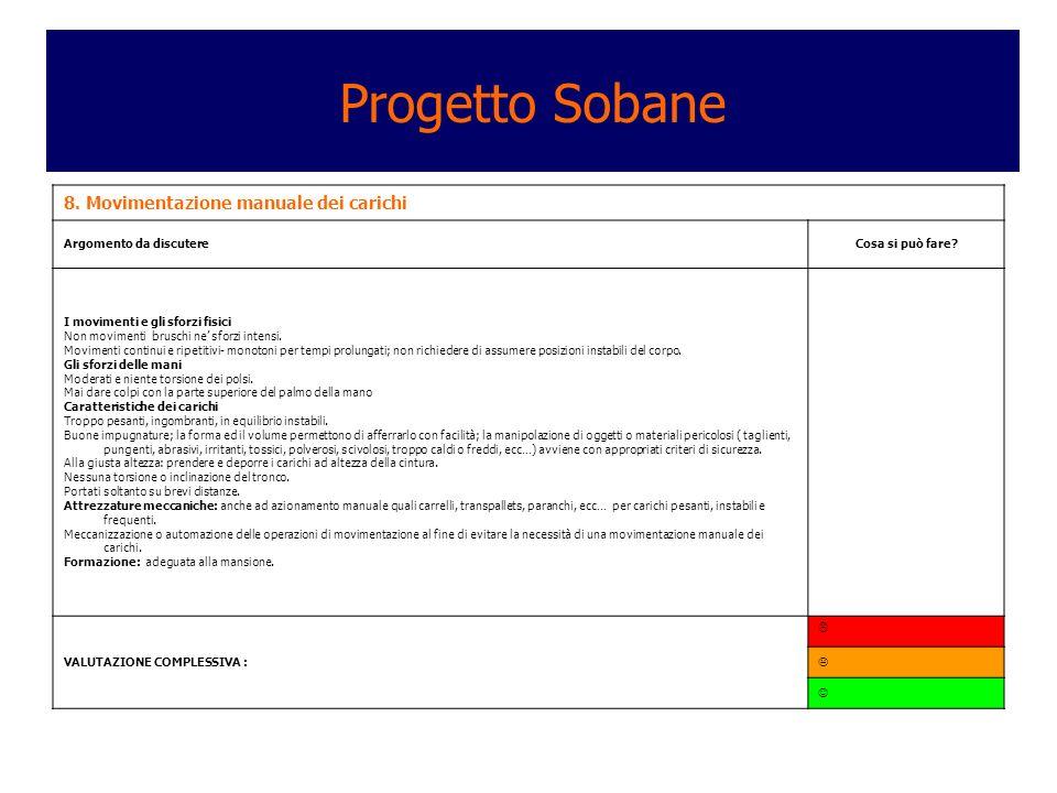 Progetto Sobane 8. Movimentazione manuale dei carichi