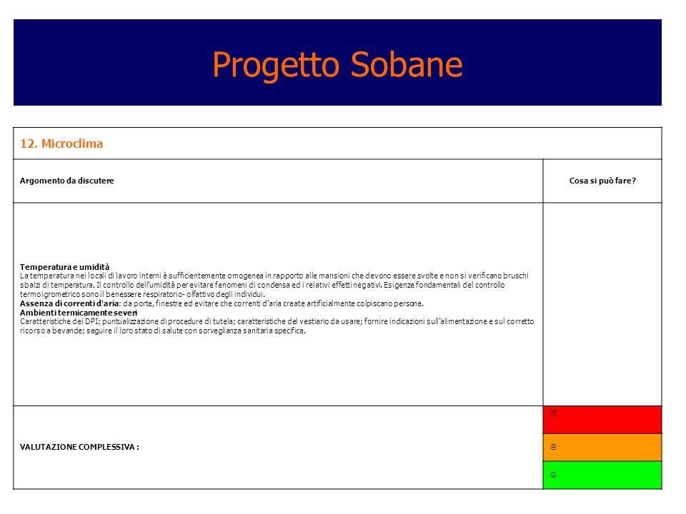 Progetto Sobane 12. Microclima Argomento da discutere