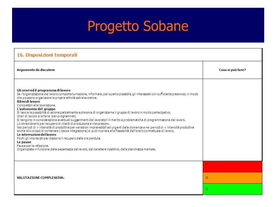 Progetto Sobane 16. Disposizioni temporali Argomento da discutere