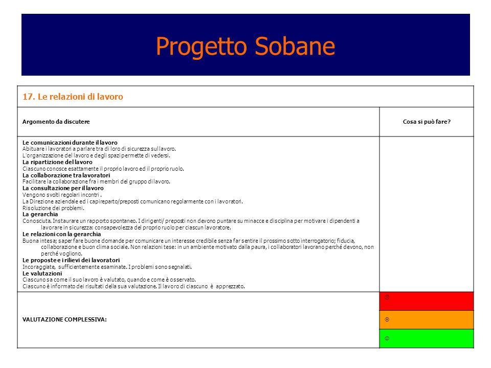 Progetto Sobane 17. Le relazioni di lavoro Argomento da discutere