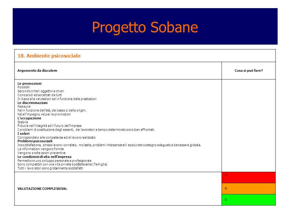 Progetto Sobane 18. Ambiente psicosociale Argomento da discutere