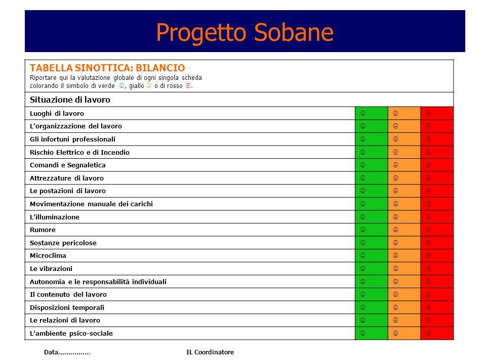Progetto Sobane TABELLA SINOTTICA: BILANCIO Situazione di lavoro