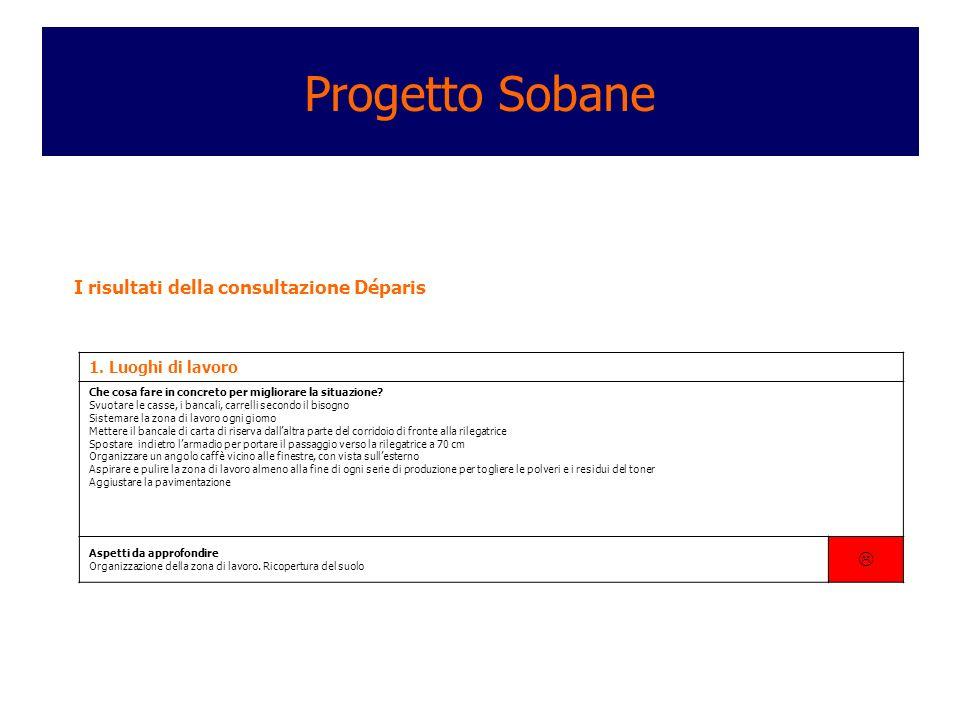Progetto Sobane  I risultati della consultazione Déparis