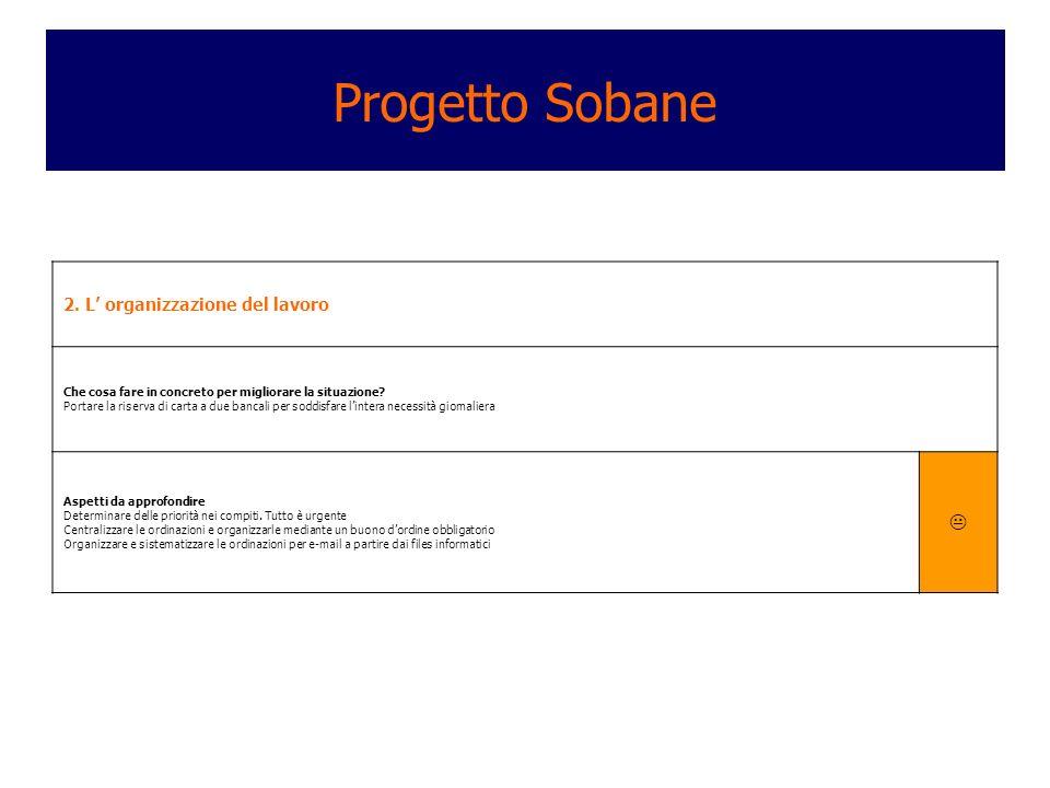 Progetto Sobane  2. L' organizzazione del lavoro