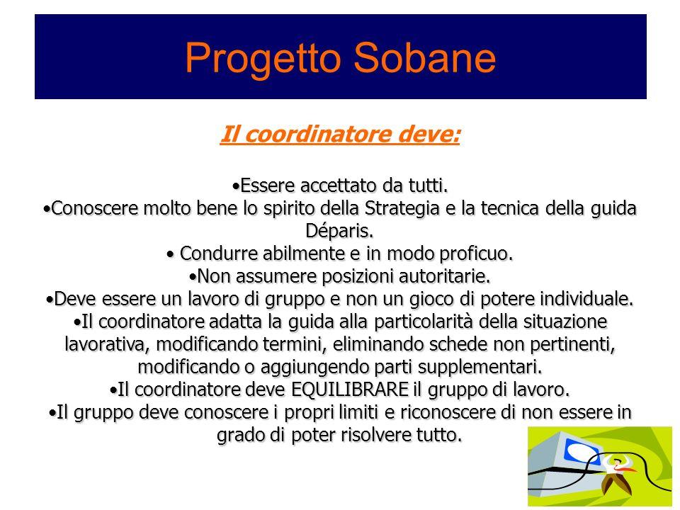 Progetto Sobane Il coordinatore deve: Essere accettato da tutti.