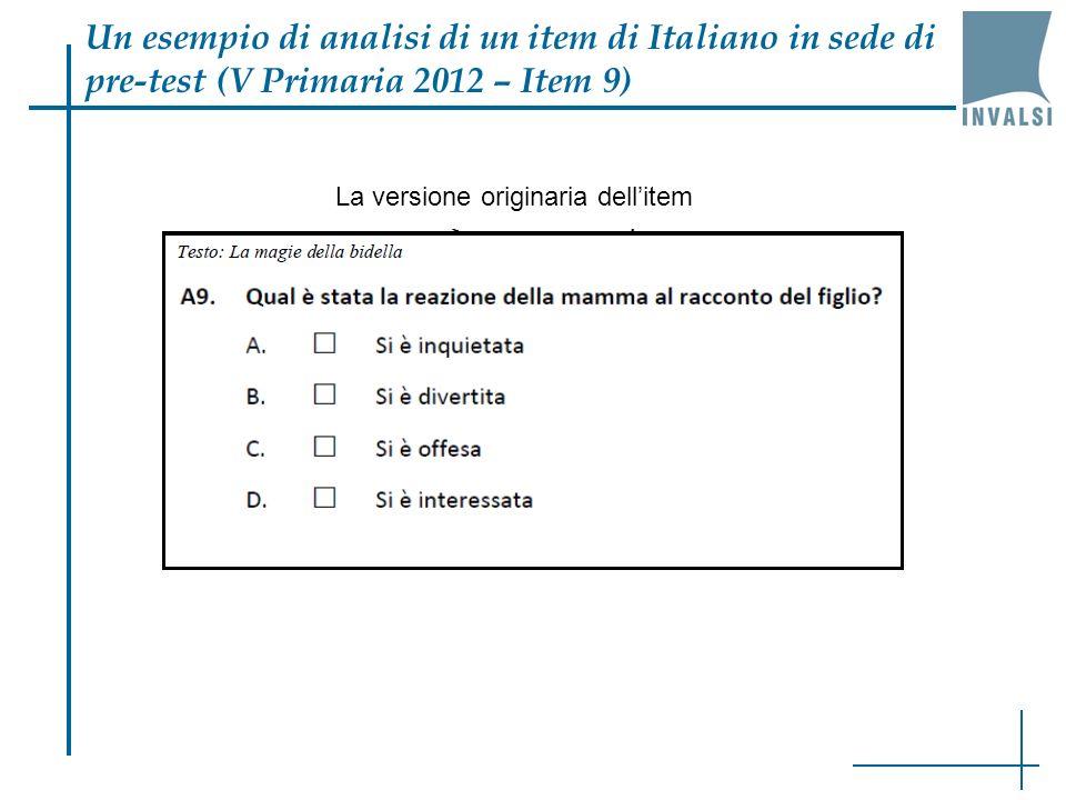 Un esempio di analisi di un item di Italiano in sede di pre-test (V Primaria 2012 – Item 9)