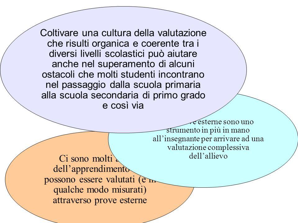 Coltivare una cultura della valutazione che risulti organica e coerente tra i diversi livelli scolastici può aiutare anche nel superamento di alcuni ostacoli che molti studenti incontrano nel passaggio dalla scuola primaria alla scuola secondaria di primo grado e così via