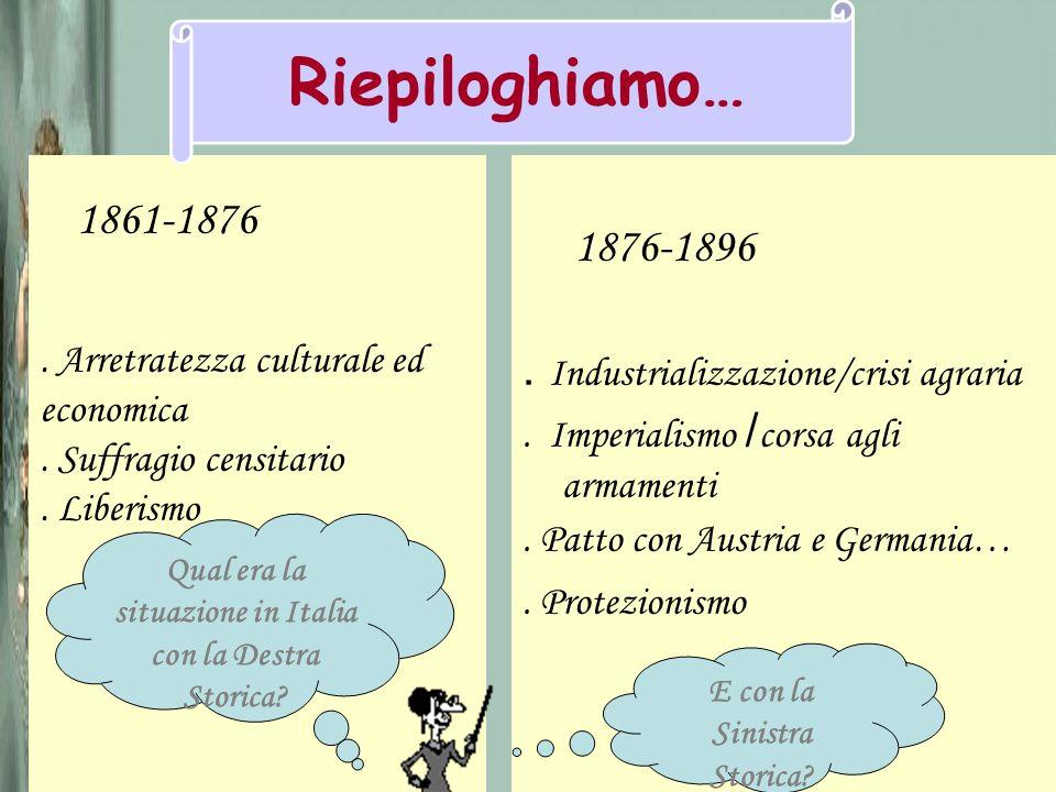 Riepiloghiamo… 1876-1896 . Industrializzazione/crisi agraria