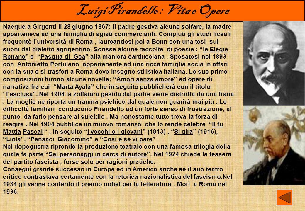 Luigi Pirandello : Vita e Opere