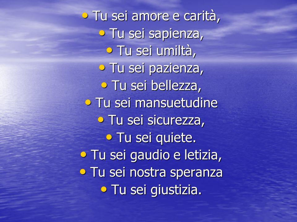 Tu sei amore e carità, Tu sei sapienza, Tu sei umiltà, Tu sei pazienza, Tu sei bellezza, Tu sei mansuetudine.