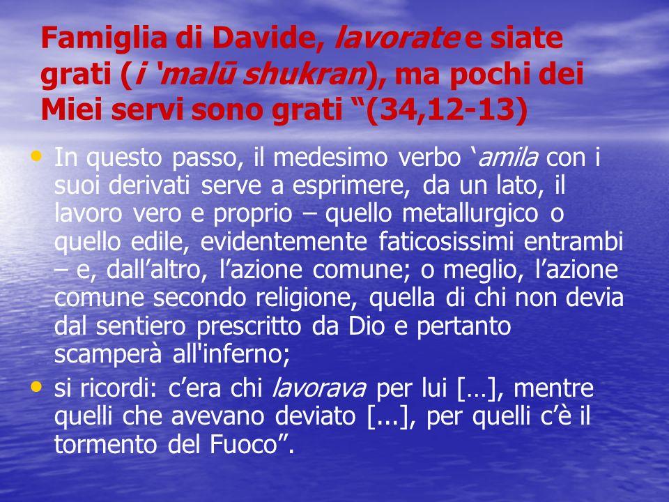 Famiglia di Davide, lavorate e siate grati (i 'malū shukran), ma pochi dei Miei servi sono grati (34,12-13)
