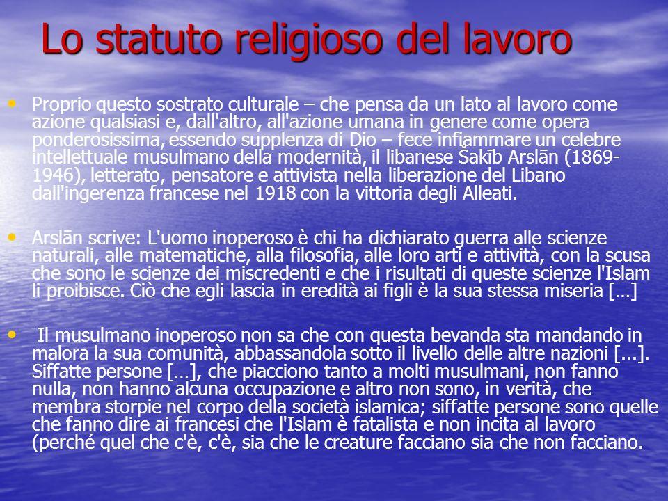 Lo statuto religioso del lavoro