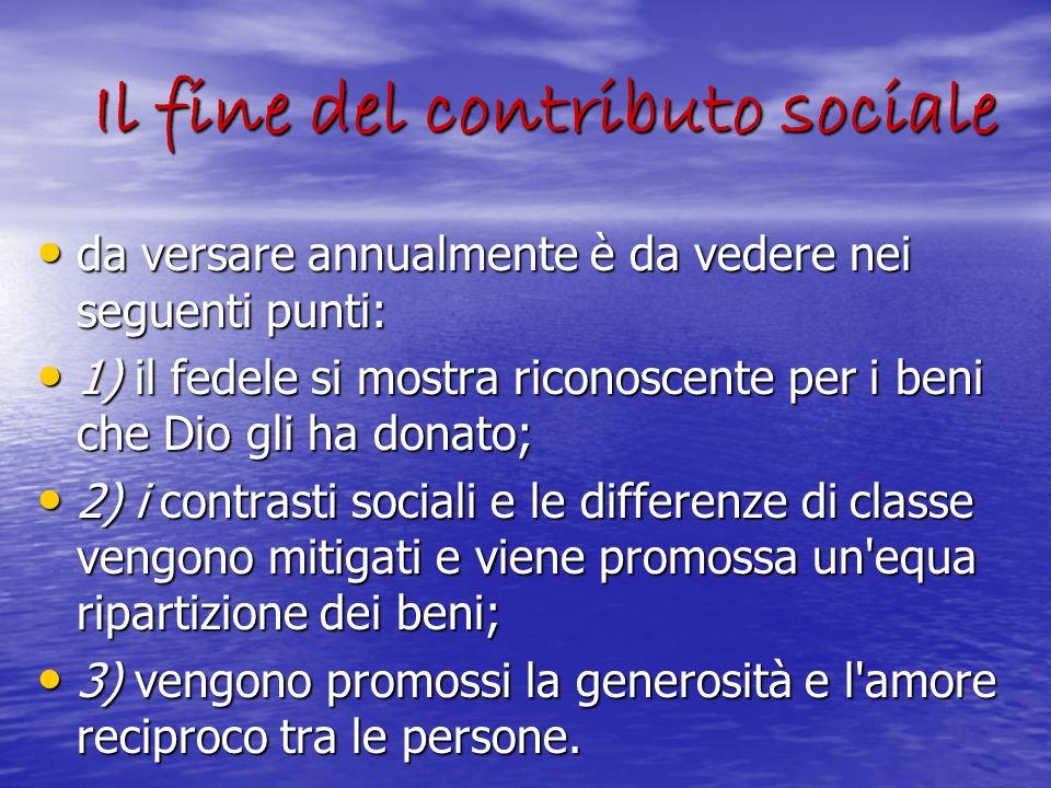 Il fine del contributo sociale