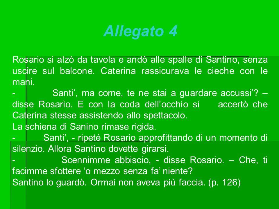 Allegato 4 Rosario si alzò da tavola e andò alle spalle di Santino, senza uscire sul balcone. Caterina rassicurava le cieche con le mani.
