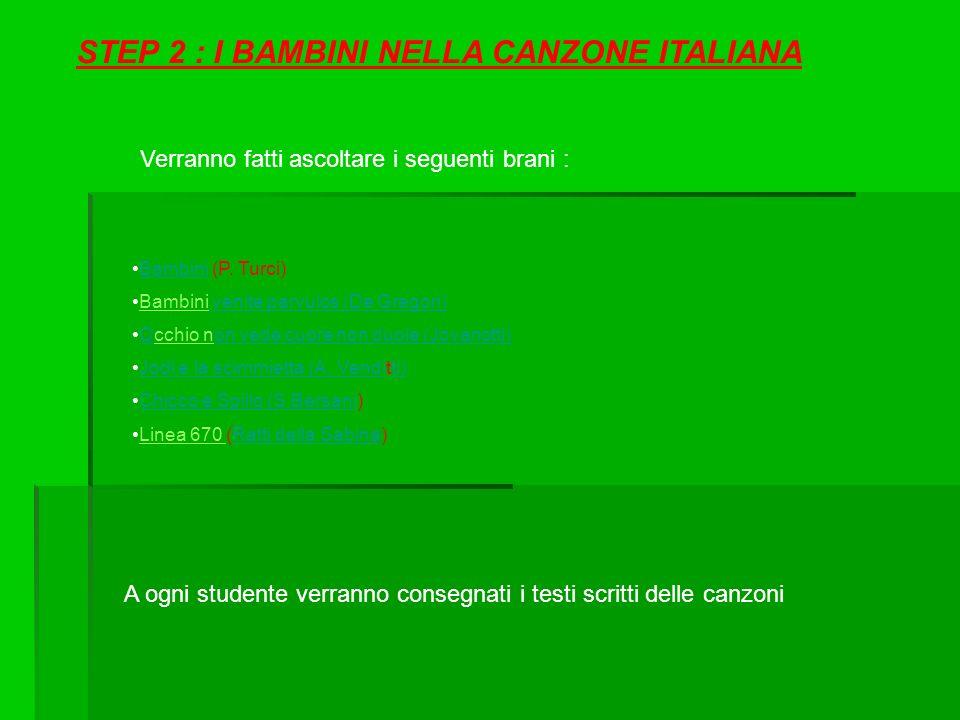 STEP 2 : I BAMBINI NELLA CANZONE ITALIANA