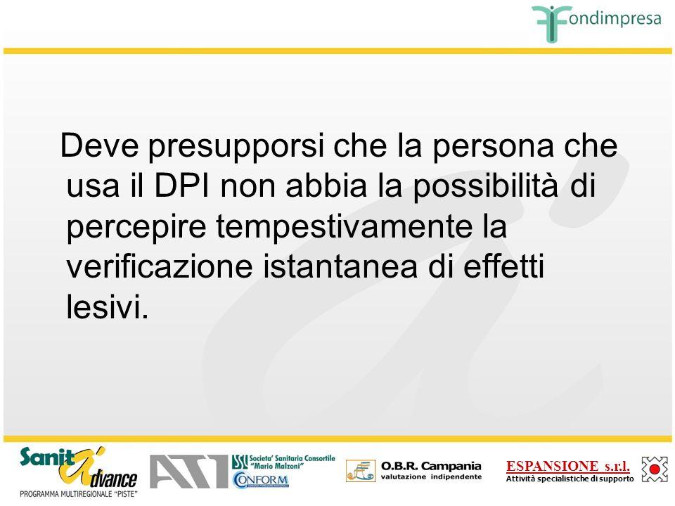 Deve presupporsi che la persona che usa il DPI non abbia la possibilità di percepire tempestivamente la verificazione istantanea di effetti lesivi.