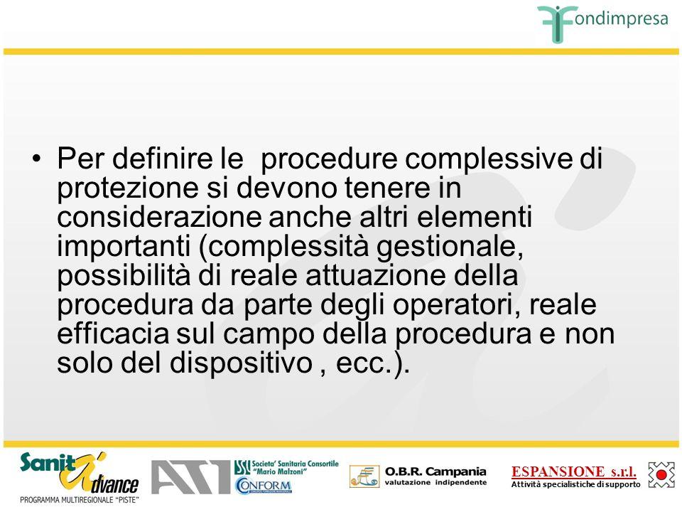 Per definire le procedure complessive di protezione si devono tenere in considerazione anche altri elementi importanti (complessità gestionale, possibilità di reale attuazione della procedura da parte degli operatori, reale efficacia sul campo della procedura e non solo del dispositivo , ecc.).