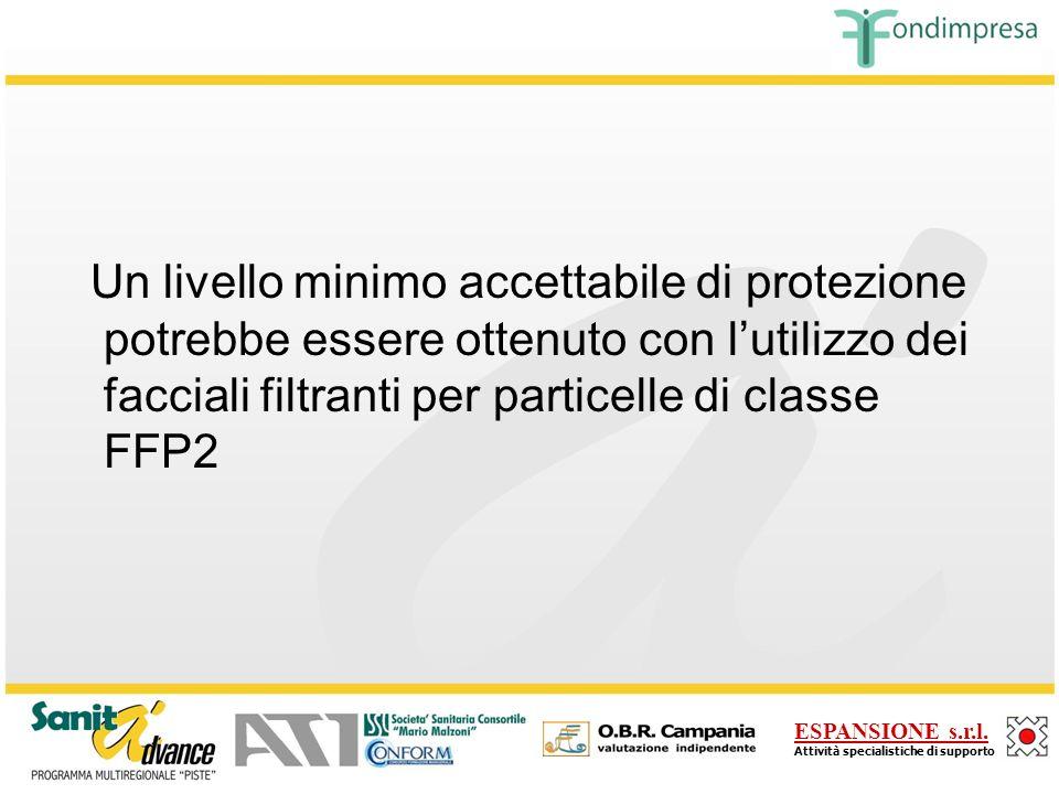 Un livello minimo accettabile di protezione potrebbe essere ottenuto con l'utilizzo dei facciali filtranti per particelle di classe FFP2