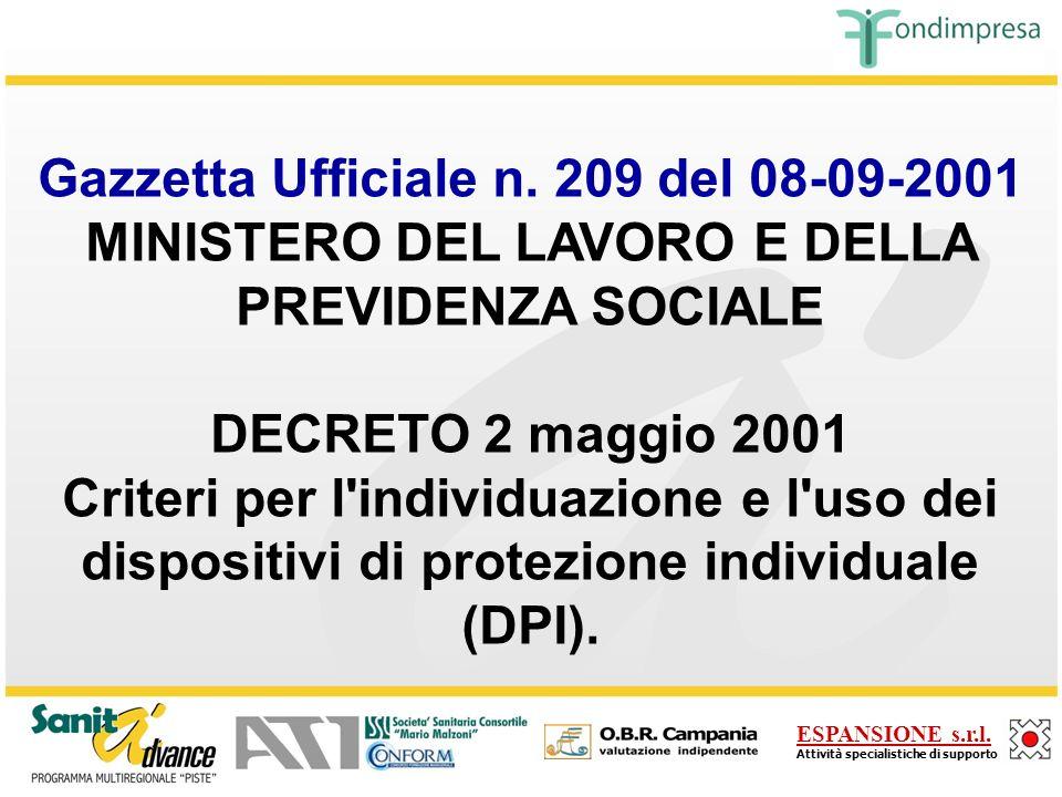 Gazzetta Ufficiale n. 209 del 08-09-2001