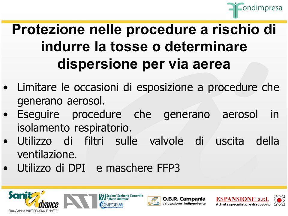Protezione nelle procedure a rischio di indurre la tosse o determinare dispersione per via aerea