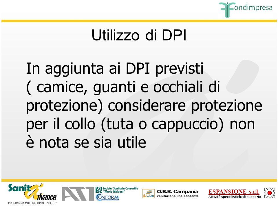 Utilizzo di DPI In aggiunta ai DPI previsti.