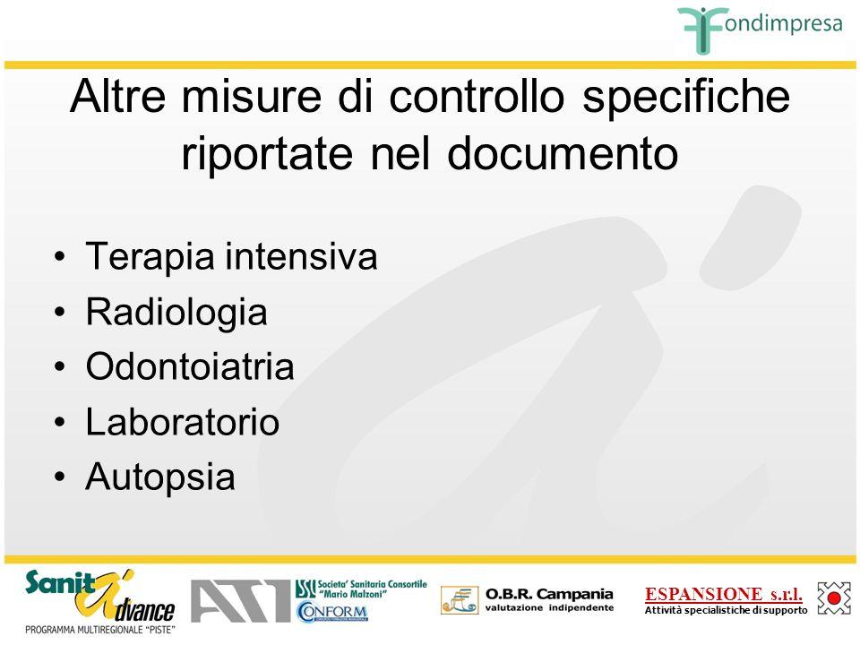 Altre misure di controllo specifiche riportate nel documento