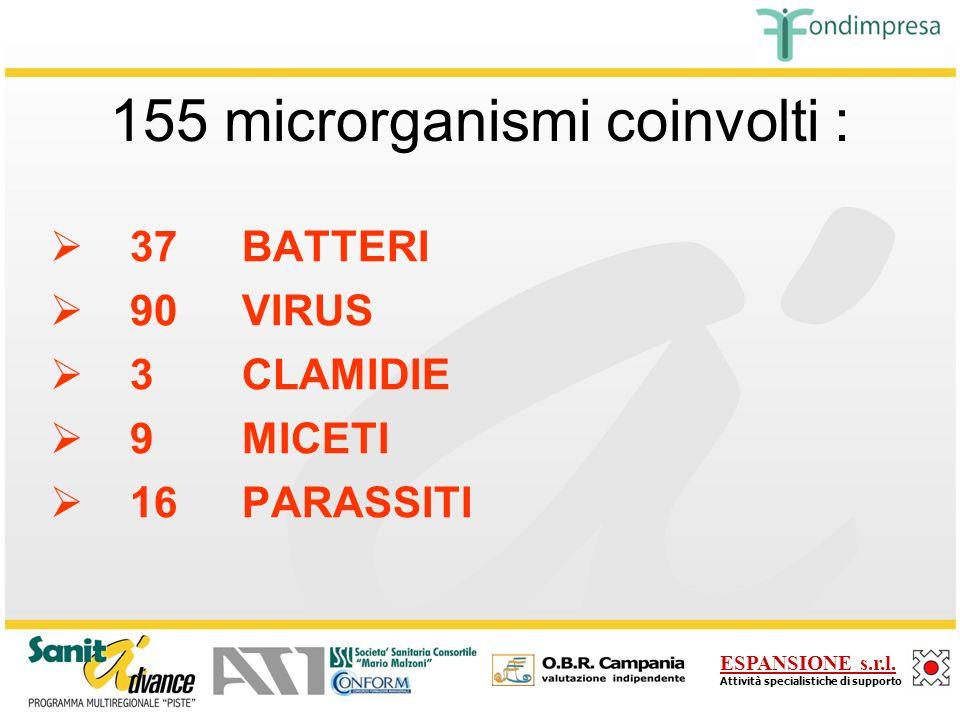 155 microrganismi coinvolti :