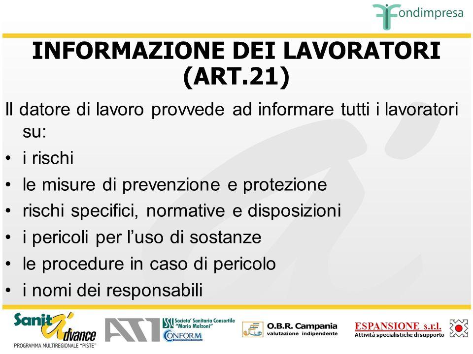 INFORMAZIONE DEI LAVORATORI (ART.21)
