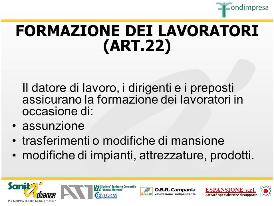 FORMAZIONE DEI LAVORATORI (ART.22)