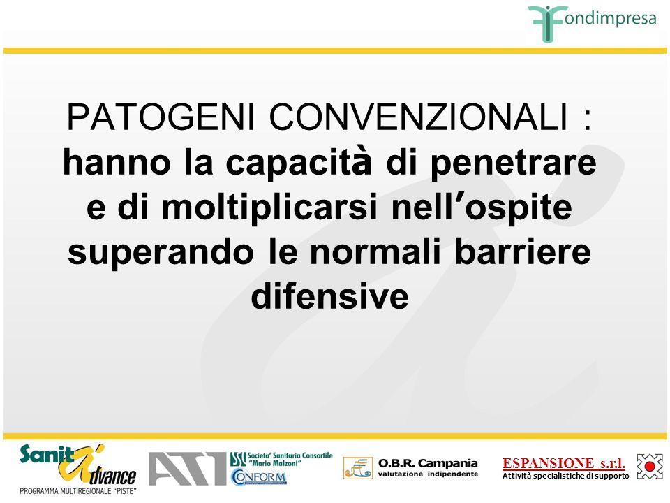 PATOGENI CONVENZIONALI : hanno la capacità di penetrare e di moltiplicarsi nell'ospite superando le normali barriere difensive