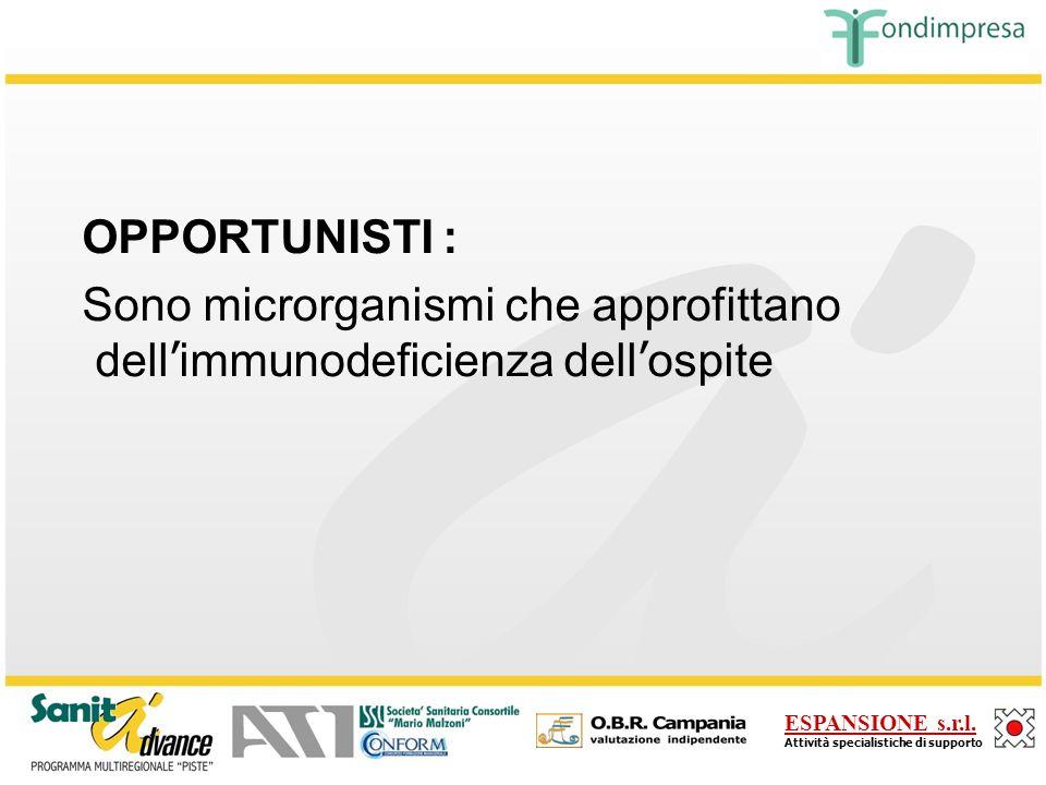 OPPORTUNISTI : Sono microrganismi che approfittano dell'immunodeficienza dell'ospite