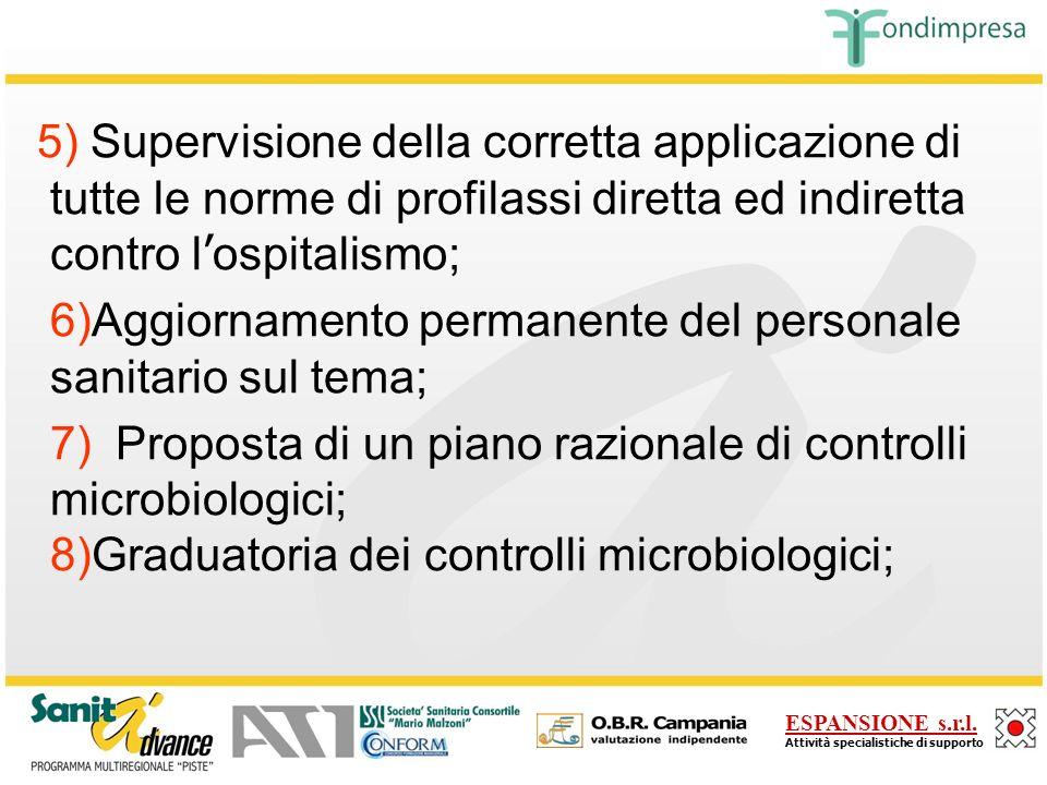 5) Supervisione della corretta applicazione di tutte le norme di profilassi diretta ed indiretta contro l'ospitalismo;