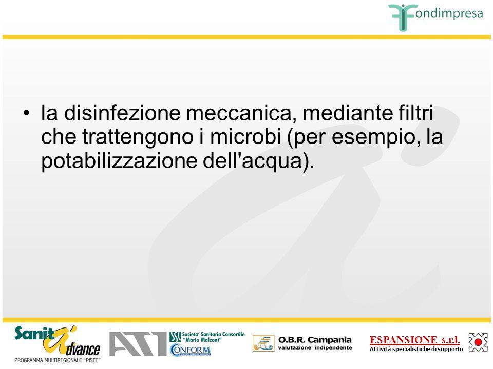 la disinfezione meccanica, mediante filtri che trattengono i microbi (per esempio, la potabilizzazione dell acqua).