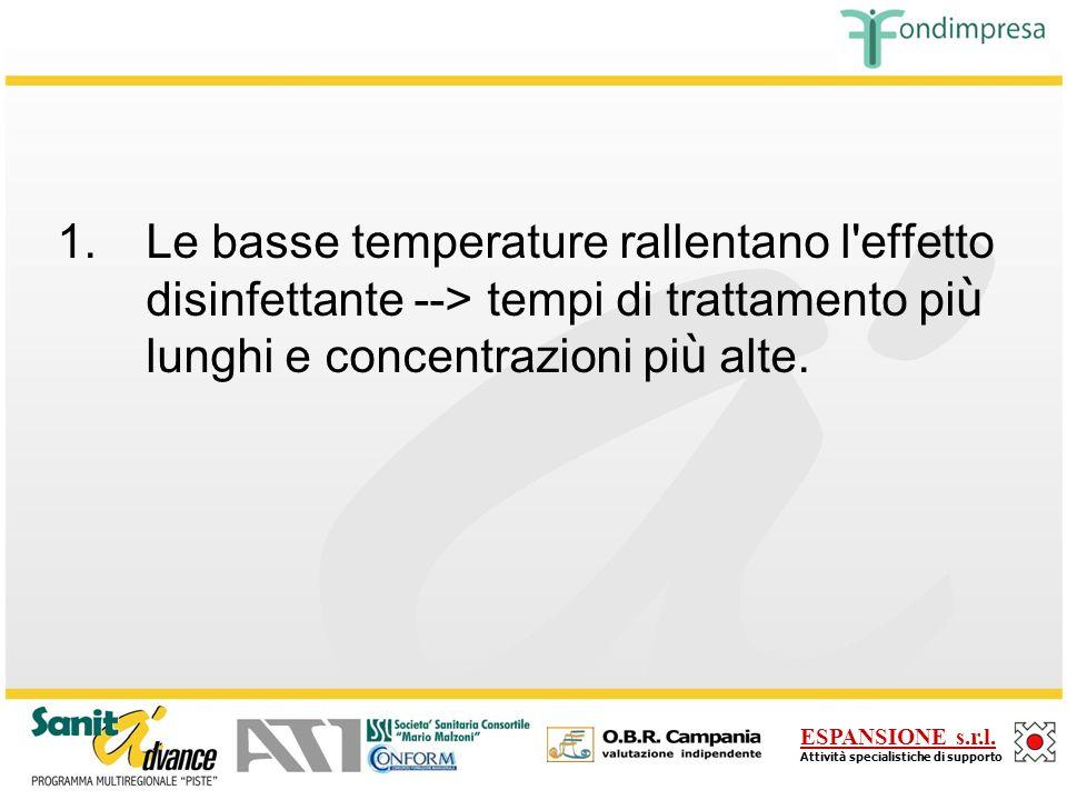 Le basse temperature rallentano l effetto disinfettante --> tempi di trattamento più lunghi e concentrazioni più alte.