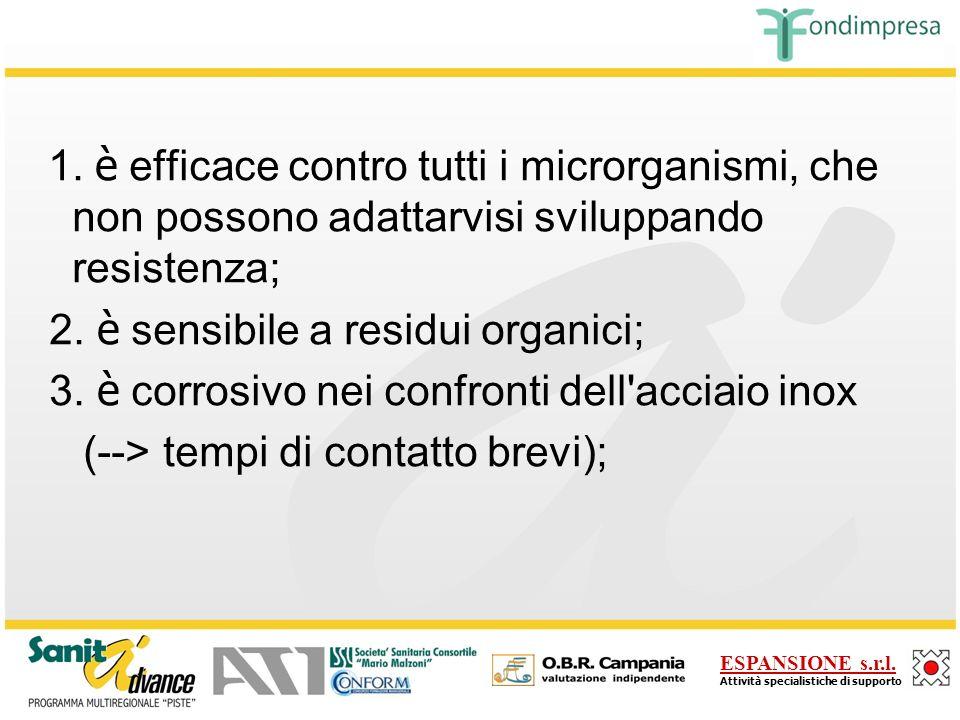 1. è efficace contro tutti i microrganismi, che non possono adattarvisi sviluppando resistenza;