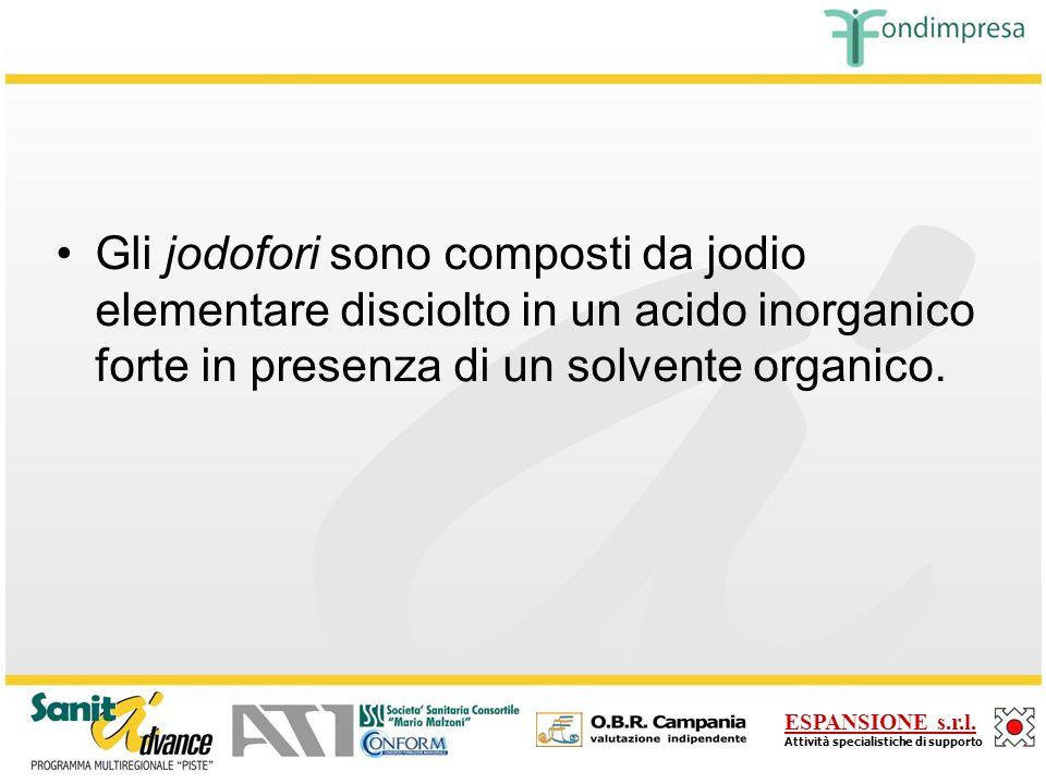 Gli jodofori sono composti da jodio elementare disciolto in un acido inorganico forte in presenza di un solvente organico.