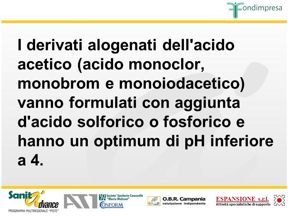 I derivati alogenati dell acido acetico (acido monoclor, monobrom e monoiodacetico) vanno formulati con aggiunta d acido solforico o fosforico e hanno un optimum di pH inferiore a 4.