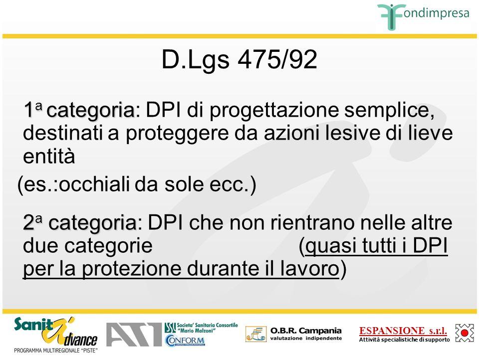D.Lgs 475/92 1a categoria: DPI di progettazione semplice, destinati a proteggere da azioni lesive di lieve entità.