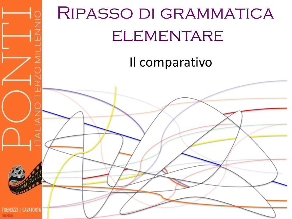 Ripasso di grammatica elementare Il comparativo